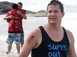 Actors Jonah Hill and Channing Tatum film scenes on the beach for '22 Jump Street' in Puerto Rico