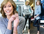 Her modest side: Karlie Kloss covered up in a conservative yet cute ensemble to attend a Coach and Lucky Magazine Q&A with Eva Chen in New York City on Wednesday