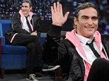 Is that Allie's? Joaquin Phoenix rocks a pink hoodie as he makes an appearance on Late Night With Jimmy Fallon