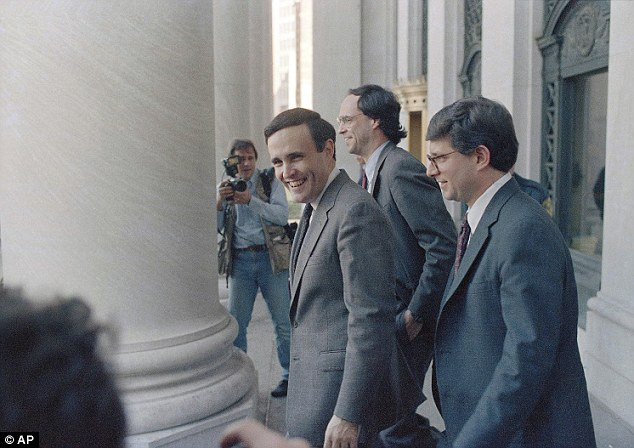 Campaign: Giuliani, right, in 1986 when he tackled organized crime as a U.S. attorney