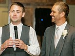 Brotherly love: Paul Walker and his youngest brother Cody, 25, give a toast at their brother Caleb's wedding to Stephanie Branch in October