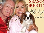 Merry Christmas from the Playboy mansion! Hugh Hefner, 87, and wife Crystal Harris, 27, pose in silk pajamas for their holiday card