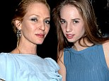 Good genes: Uma and lookalike daughter Maya Thurman-Hawke both wore blue gowns to the dinner in honour of Zac Posen on Wednesday night in NYC