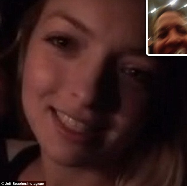 '@francescaeastwood that's my wife ! She's always so happy and pretty': Francesca Eastwood and pal Jeff Beacher laughed off her quickie Las Vegas wedding in photos of their video chat posted to their Instagram pages on Wednesday