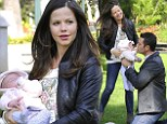 She's a natural! Tammin Sursok takes to motherhood with ease as she goes to the park with her husband and baby Phoenix