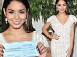 Lovely in lace Vanessa Hudgens enjoys a day of sweet charity as she accepts $100K relief check on behalf of UNICEF for typhoon-ravaged Philippines