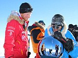 Prince Harry and fellow adventurer Ivan touch the South pole today