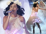 Everyone's Wide Awake now! Katy Perry performs in white frilly dress complete with LED lights on The Voice of Germany