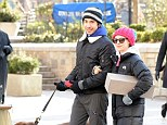 Out and about: Amanda Seyfriend taking a walk in Madison Square Park with boyfriend Justin Long and her dog, Finn