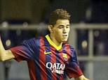 Exit: Barca teenager Toni Sanabria (left) is close to joining Arsenal after telling the Spanish giants he wants to leave