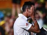 Facepalm: Pietersen reacts as he walks off the field after his dismissal