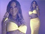 Just a little old thing she threw on! Mariah Carey posts snap wearing a tight yellow dress with rhinestone studded mesh