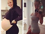 Flat as a pancake! Model Amber Rose shows off her post-pregnancy body in before and after photo