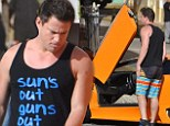 Its all bright on set as Channing Tatum breaks out both 'his guns' and an orange Lamborghini while filming 22 Jump Street