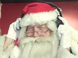 Father Christmas with earphones