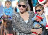 Selma Blair with son Arthur on pony at Farmers Market