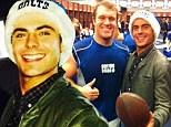 What broken jaw? Zac Efron's huge smile shows he has recovered as he helps Indiana Colts fans and players celebrate win