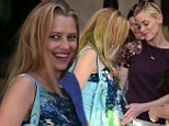 Oh baby! Jamie King can't resist rubbing pal Teresa Palmer's growing bump at her baby shower in Los Angeles