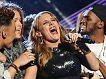Sam Bailey celebrates her sweet victory at the end of The X Factor with the show's other finalists