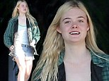Ray of sunshine! Blonde starlet Elle Fanning sports a huge smile as she leaves Hollywood hotel in casual outift