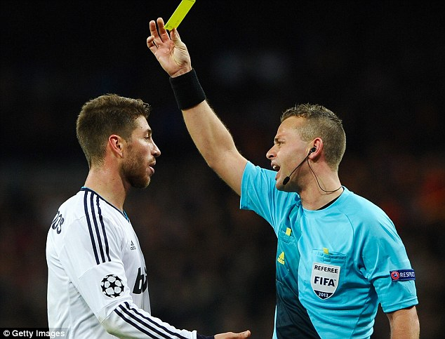 At it again? Ramos was accused of picking up a deliberate booking against Galatasaray last season