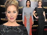 Christina Applegate dazzles in black gown at Anchorman 2 premiere but Kristen Wiig's dowdy orange and grey dress fails to flatter