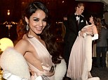 Vanessa Hudgens flashes some sideboob in a revealing dress as she marks her 25th birthday with boyfriend Austin Butler at Hollywood-themed bash