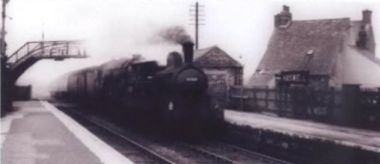 Steam engine at Haswell railway station