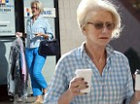 Helen Mirren is the epitome of casual chic in blue checked shirt and eye-catching matching trousers as she runs errands
