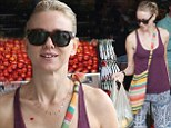 Jet-setter Naomi Watts takes advantage in the change in weather as she trades in her winter coats for a tank top and patterned pants while shopping in Australia