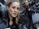 Hail it's cold! Sarah Jessica Parker struggles with the chilly weather as she flags down taxi in New York