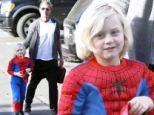 Doting dad: Gavin Rossdale escorted his five-year-old son to school on Monday in Los Angeles