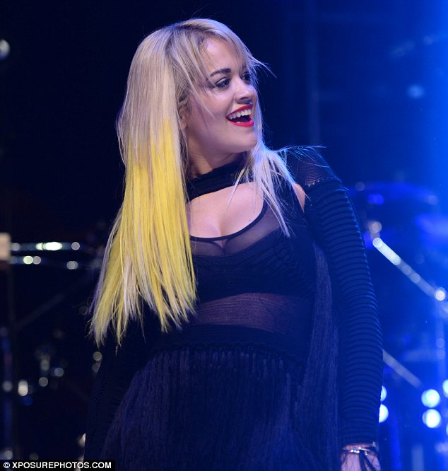 Sheer delight: Rita's top was see-through and left her cleavage on show