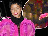 Rihanna parties with A$AP Rocky amid claims they're more than friends in garish neon furry jacket