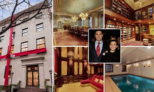 Old world glory: Across the home walls are decorated with gold-leaf and the poweder room has a fireplace made from Brazilian travertine and the third-floor banquet room has a black walnut heated floor