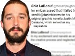 'It's shameless theft!' Shia LaBeouf forced to apologise after his short film is revealed as almost complete rip off... and he plagiarised the apology too