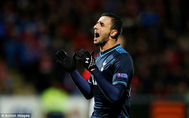 Missed opportunity: Nacer Chadli shouts after missing a good first half chance