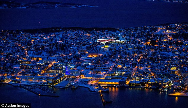 Stunning: The Alfheim Stadion lights up the Tromso, the tiny Norwegian city where Spurs played in the Europa League tonight