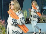 Yoga-loving: Pregnant Drew Barrymore heads out for some gentle exercise