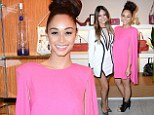 It's fashion, darling: Actress Cara Santana wears fuchsia cape to launch of blog Cara Disclothed
