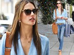 Alessandra Ambrosio is a delight in double denim as she shows off her model figure in skinny jeans and matching top