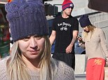 Casual couple: Kaley Cuoco and her fiance Ryan Sweeting dressed down on Sunday for a trip to the grocery store