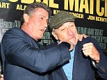Robert De Niro and Sylvester Stallone get into character and pretend to fight at Grudge Match premiere