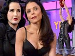 Bethenny Frankel bends and contorts her lithe frame and pours water in her cleavage as she receives a burlesque lesson from Dita Von Teese