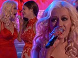Stunning duet: Christina Aguilera and her singer Jacquie Lee teamed up for a duet during the finals of The Voice on Monday night in long red dresses