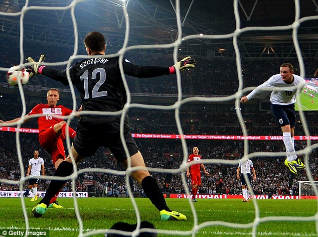 Net pains: Szczesny was impressive against England on Tuesday night but he was helpless to prevent Wayne Rooney's headed opener