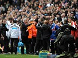 Peacemaker: After separating players and staff, along with opposite manager Mauricio Pochettino, Alan Pardew slammed the actions as 'pretty pathetic'
