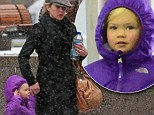 Caught in a snowstorm! Christina Applegate looks stressed as she rushes her adorable daughter out of the New York City chill