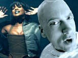 Eminem revisits key moments in his career as he straps back into his Slim Shady straight jacket while Rihanna sexes it up as his therapist in new video for The Monster