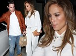 Pure Love! Jennifer Lopez wears all white outfit for a romantic dinner with boyfriend Casper Smart in West Hollywood